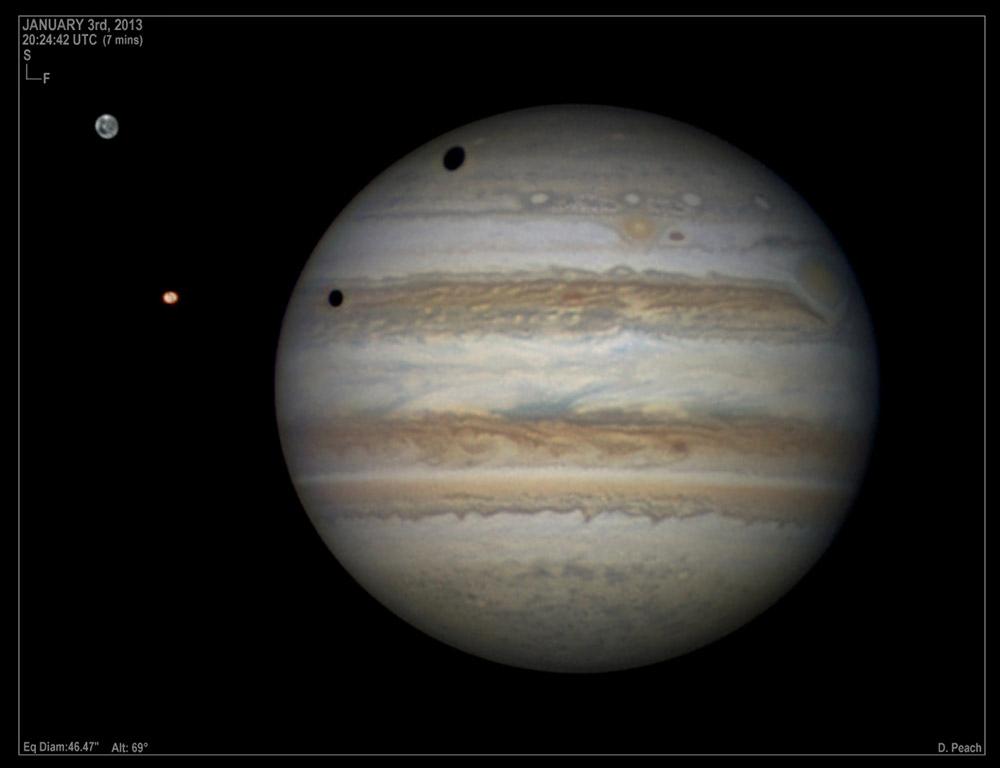Jupiter moon transit. Photo: Damien Peach