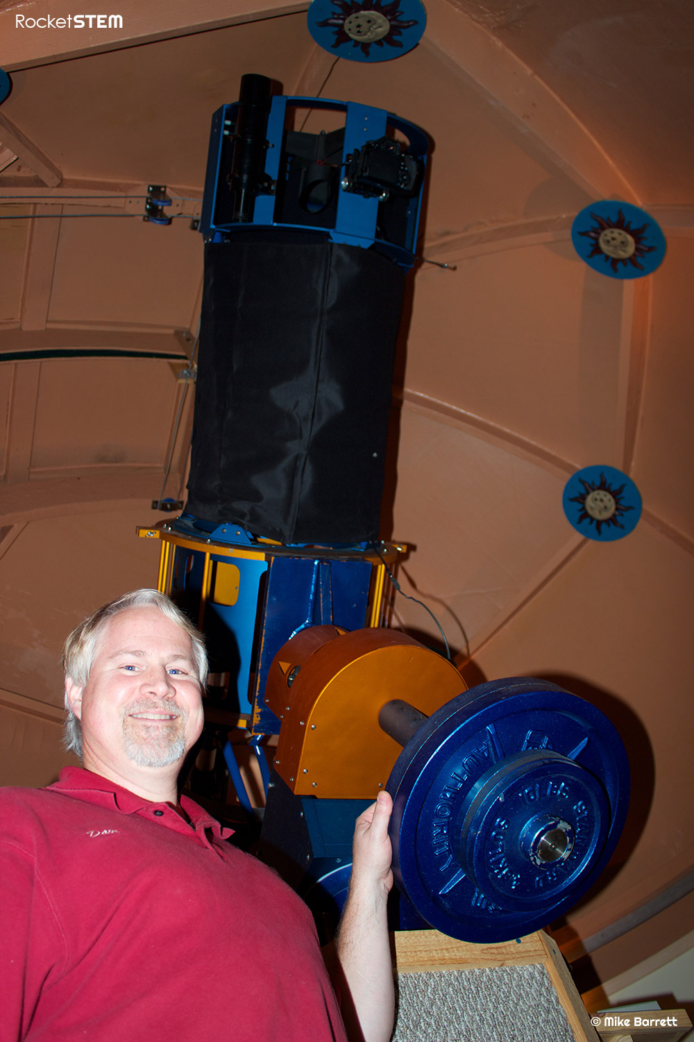 David Hearn and the 18 inch Kissimmee Park Observatory telescope.  Photo: Mike Barrett