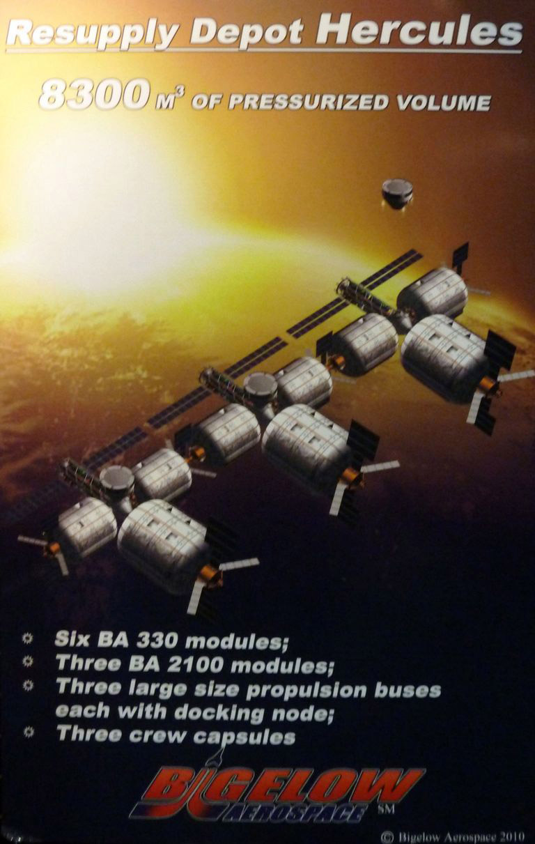 An artist representation of the Hercule Resupply Depot. Image: Bigelow Aerospace