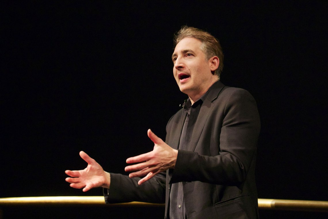 Brian Greene speaking at the Smithsonion National Air and Space Museum in Washington, D.C. Credit: Kurt Raschke