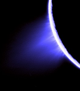 Jets spurt ice particles, water vapor and trace organic compounds from the surface of Saturn's moon Enceladus. Credit: NASA/JPL/Space Science Institute