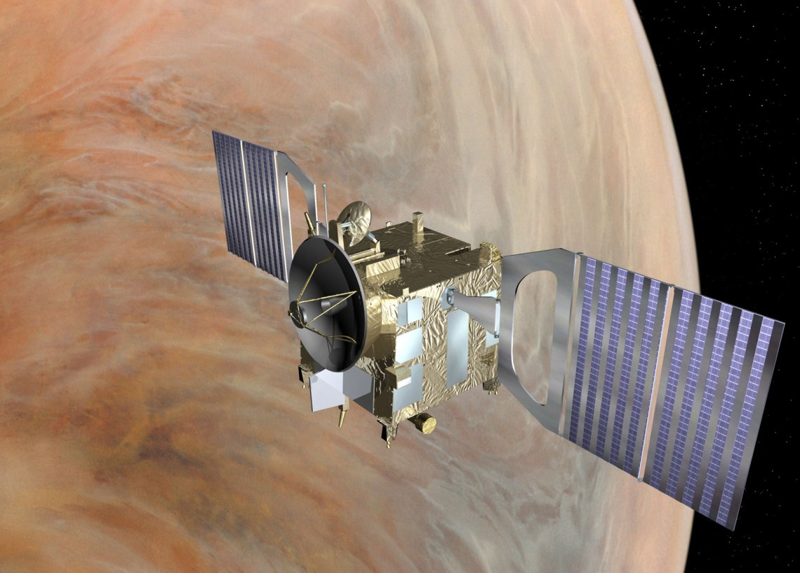 Visualisation of Venus Express during the aerobraking manoeuvre, which will see the spacecraft orbiting Venus at an reduced altitude of around 130 km from 18 June to 11 July.Credit: ESA–C. Carreau