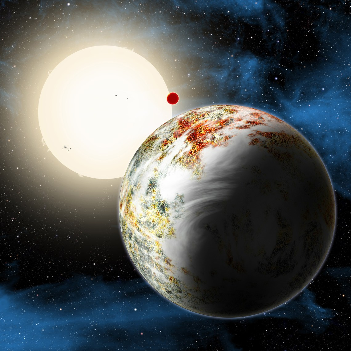 "The newly discovered ""mega-Earth"" Kepler-10c dominates the foreground in this artist's conception. Its sibling, the lava world Kepler-10b, is in the background. Both orbit a sunlike star. Kepler-10c has a diameter of about 18,000 miles, 2.3 times as large as Earth, and weighs 17 times as much. Therefore it is all solids, although it may possess a thin atmosphere shown here as wispy clouds. Credit: David A. Aguilar/Harvard-Smithsonian Center for Astrophysics (CfA)"