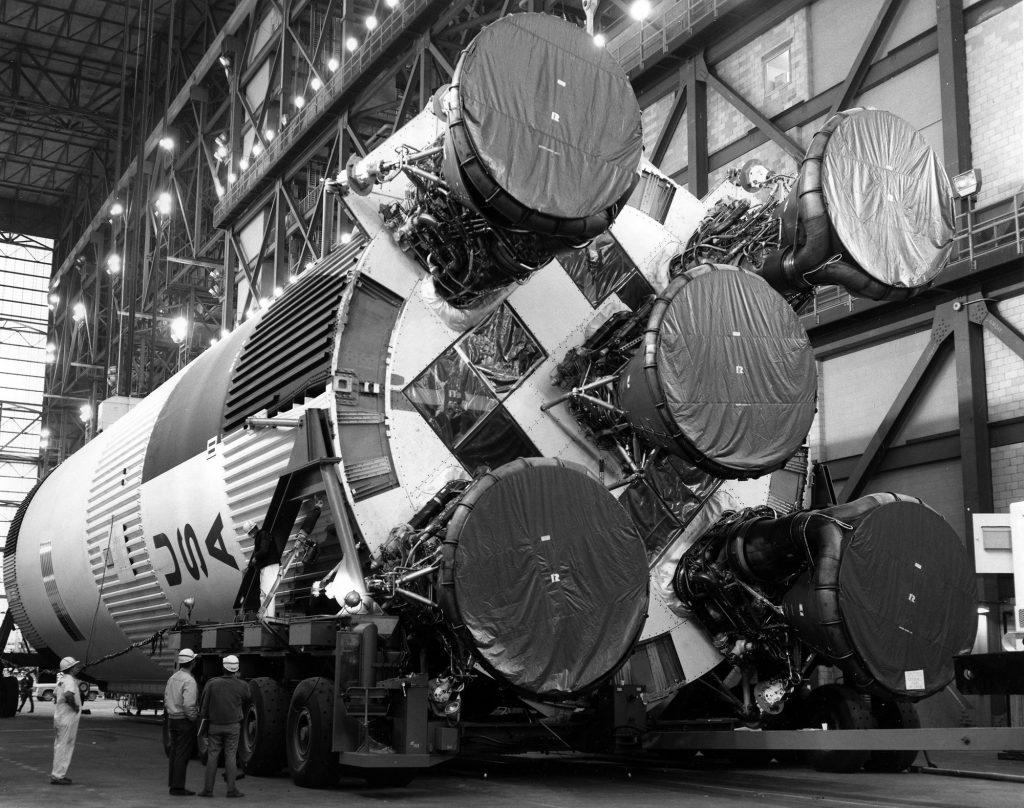 The S-IC first stage in the transfer aisle of the VAB on February 21, 1969.