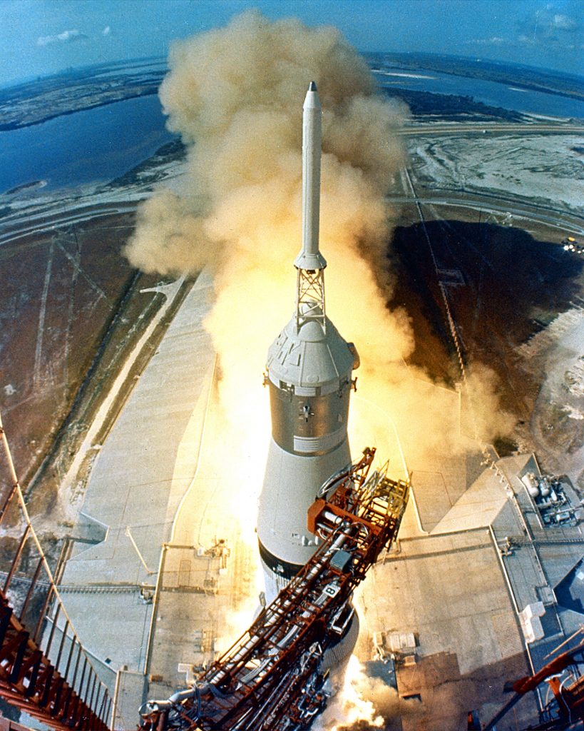 Liftoff of Apollo 11 at 9:32 a.m. on July 16, 1969 as seen from a camera high up on the mobile launch tower.