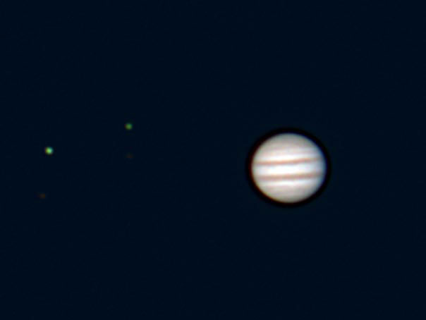 Jupiter and moons captured with Celestron NexImage 5. Credit: Mike Barrett