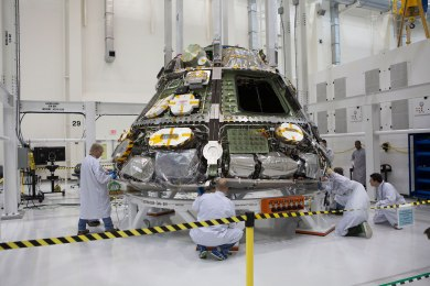 After arrival from Louisiana, Orion construction continued within the Operations and Checkout Facility at Kennedy Space Center in Florida. Credit: NASA