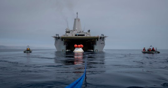 The U.S.S. Anchorage was used during recovery tests of a model of Orion off the coast of California. Credit: U.S. Navy & NASA