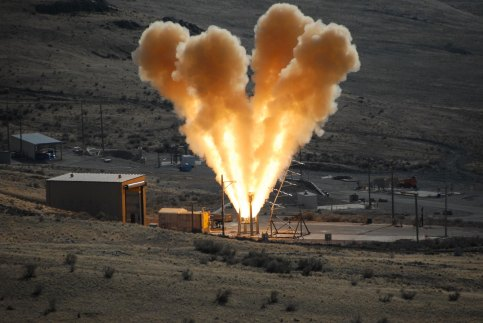 Static test firing of the pad abort motor for Orion. Credit: NASA