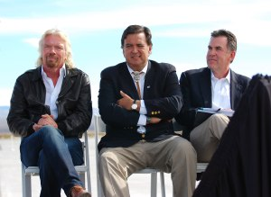 Virgin Galactic founder Richard Branson, New Mexico Governor Bill  Richardson, and NMSA Chairman Rick Homans appeared at the 2010 dedication of the Spaceport America runway.  Credit: Loretta Hall