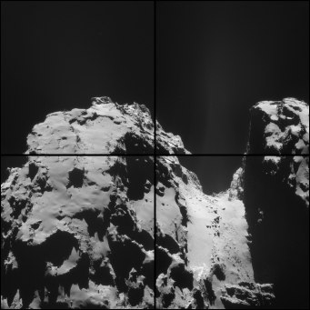 Four-image montage comprising images taken by Rosetta's navigation camera on 2 October from a distance of 19 km from the centre of the comet. Credit: ESA/Rosetta/NAVCAM