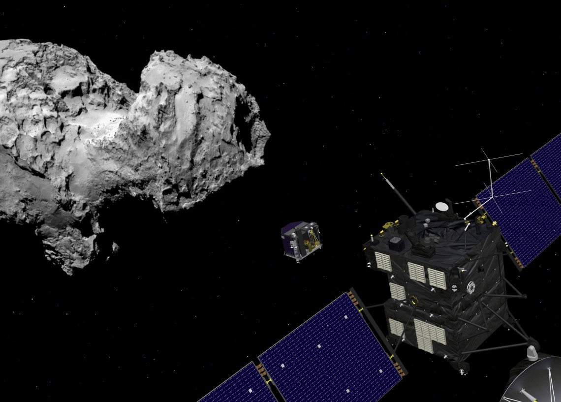 Still image from animation of Philae separating from Rosetta and descending to the surface of comet 67P/Churyumov-Gerasimenko in November 2014. Credit: ESA/ATG medialab