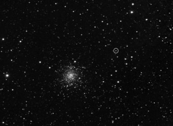 Rosetta's first sighting of its target was taken on 21 March by the OSIRIS Narrow Angle Camera. The comet is indicated by the small circle next to the bright globular star cluster M107. The image was taken from a distance of about 5 million kilometres to the comet. Credit: ESA/Rosetta/MPS for OSIRIS Team