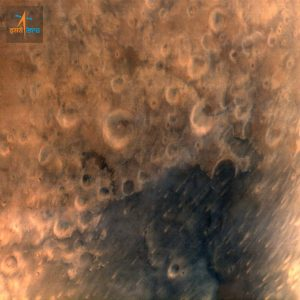 Mars Orbiter Spacecraft captures its first image of Mars. Taken from a height of 7300 km; with 376 m spatial resolution. Credit: ISRO