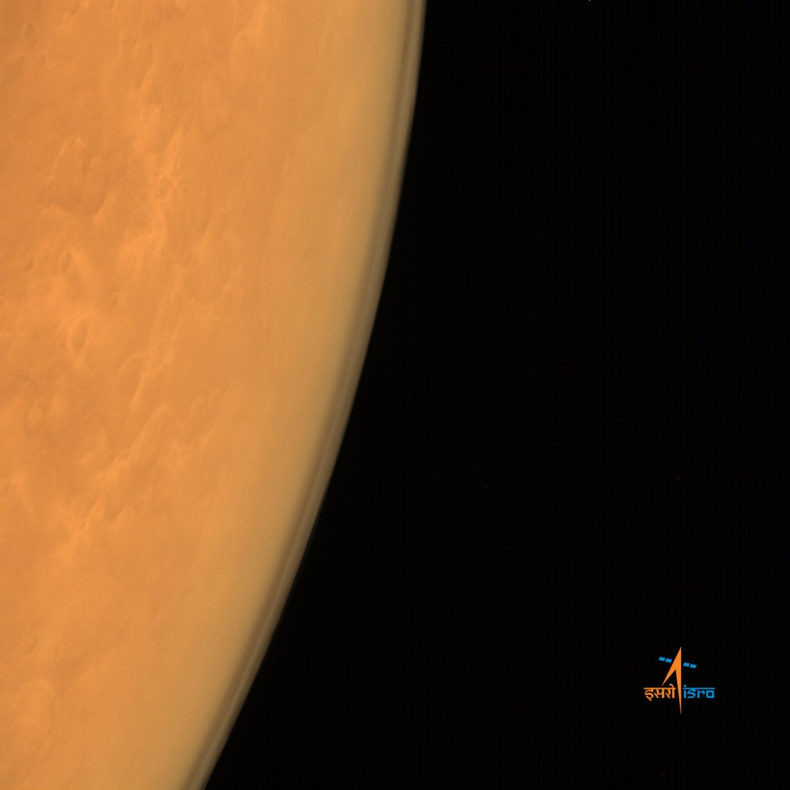 Taken using India's Mars Color Camera from an altitude of 8449 km, this image has a spatial resolution of 439 m and is centered around Lat: 20.01N, Lon:31.54E. Credit: ISRO