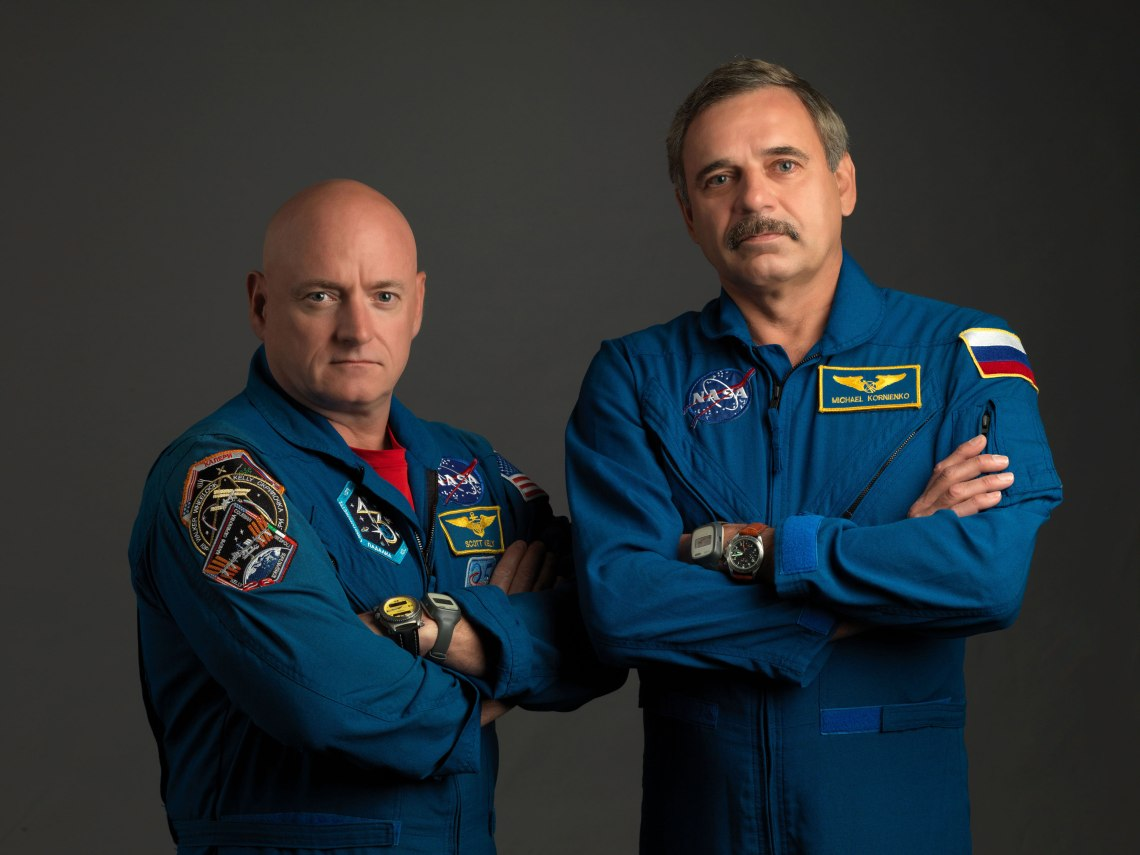 NASA astronaut Scott Kelly (left) and Russian cosmonaut Mikhail Kornienko are spending a year together aboard the ISS.
