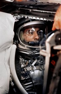 Alan Shepard in his space suit seated inside the Mercur y capsule. Credit: NASA/Bill Taub