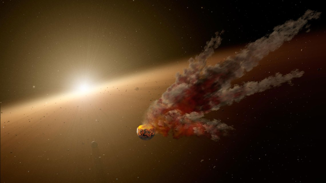 Artist's concept of building planets through collisions – planetary accretion in the Solar Nebula 4.56 billion years ago.  Credit: NASA