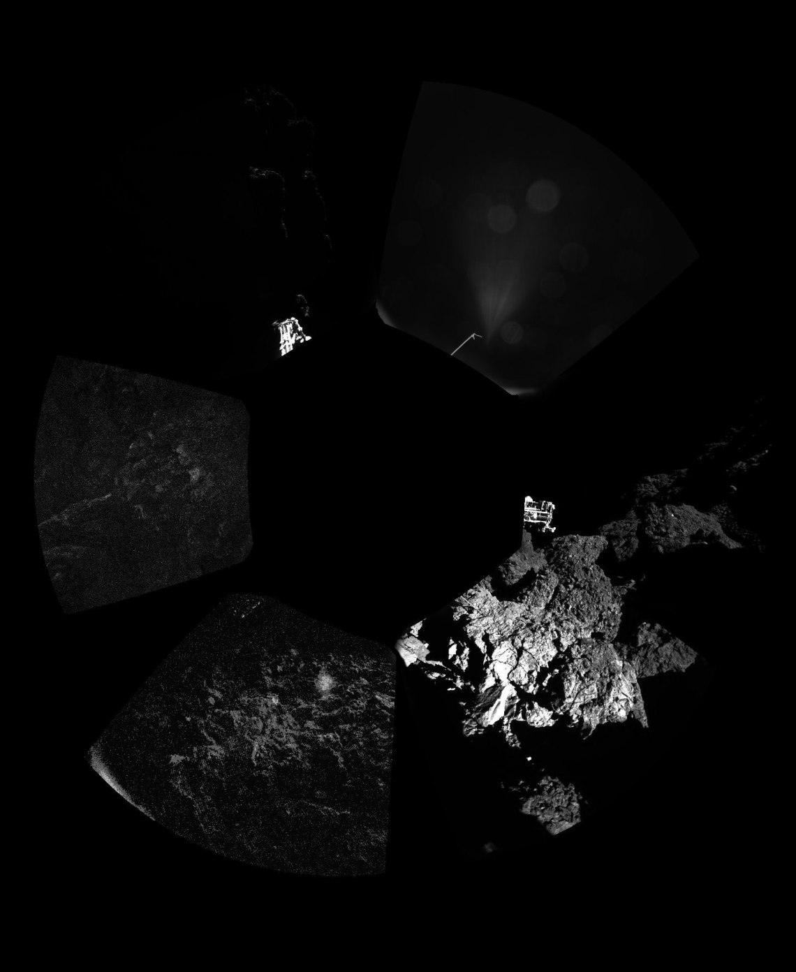 Rosetta's lander Philae has returned the first panoramic image (above) from the surface of a comet. The unprocessed view shows a 360º view around the point of final touchdown. The three feet of Philae's landing gear can be seen in some of the frames. Credit: ESA/Rosetta/Philae/CIVA