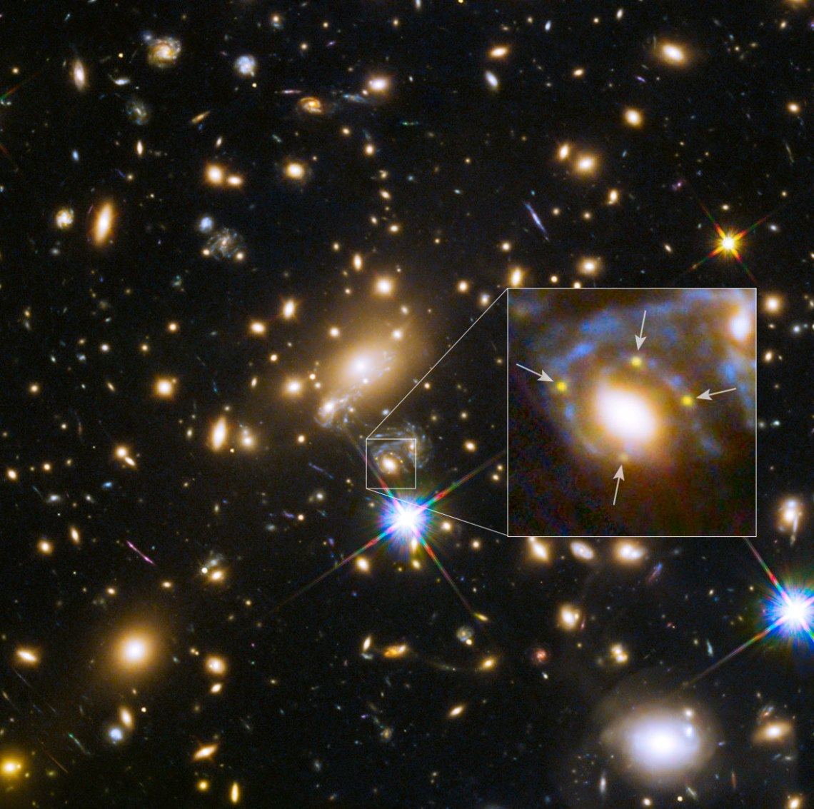 Astronomers using the Hubble Space Telescope have, for the first time, spotted four images of a distant exploding star. The images are arranged in a cross-shaped pattern by the powerful gravity of a foreground galaxy embedded in a massive cluster of galaxies. A close-up of the Einstein cross is shown in the inset.   Credit: NASA, ESA, S. Rodney (John Hopkins University, USA) and the FrontierSN team; T. Treu (University of California Los Angeles, USA), P. Kelly (University of California Berkeley, USA) and the GLASS team; J. Lotz (STScI) and the Frontier Fields team; M. Postman (STScI) and the CLASH team; and Z. Levay (STScI)