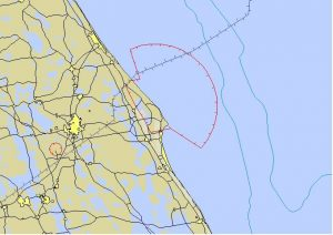 The FAA's NOTAM map issued before the SpaceX CRS-7 launch.
