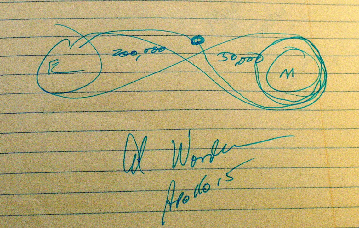 Al Worden drew this quick sketch during the interview of where he was when he made his spacewalk on the return trajectory to Earth. Credit: Sherry Valare