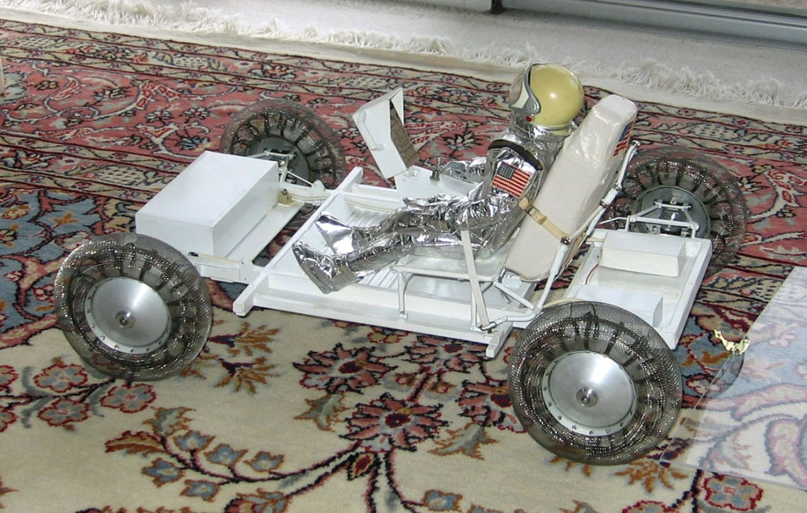 Ferenc Pavlics' original 1/6 scale Lunar Roving Vehicle model, which he drove across the floor of Dr. Wernher von Braun's Huntsville office. Credit: David Clow