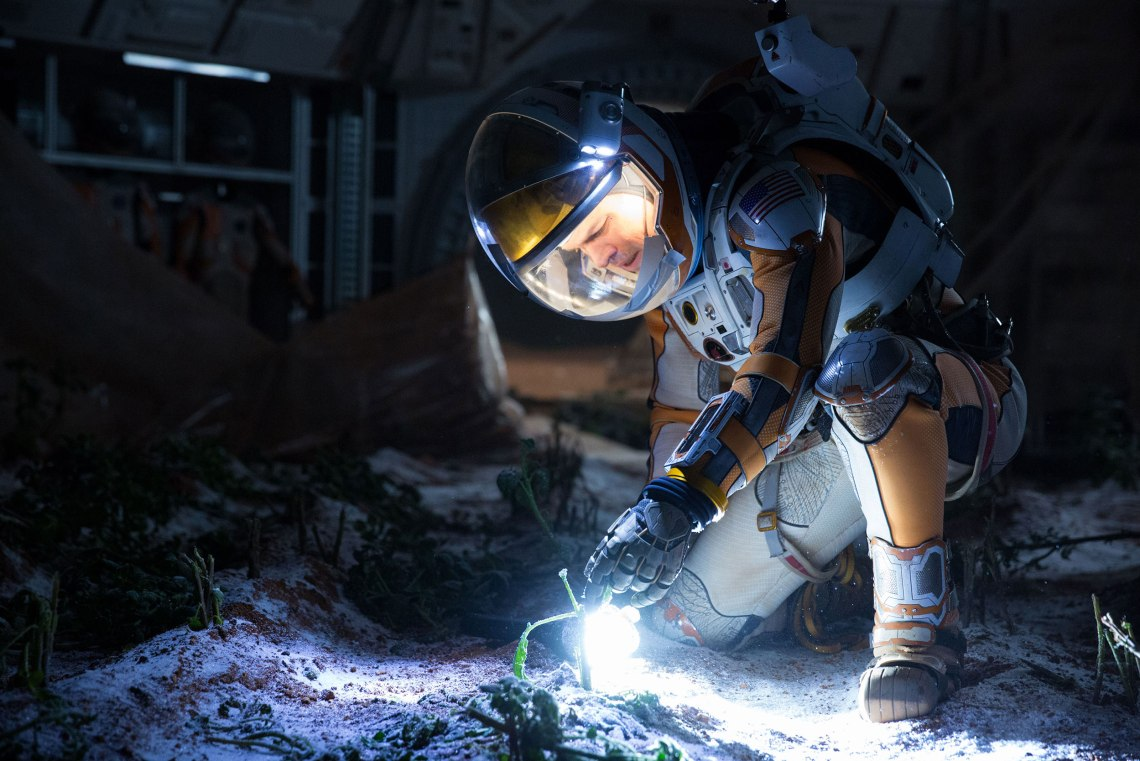Matt Damon portrays an astronaut who draws upon his ingenuity to subsist on hostile planet. Credit Giles Keyte/Twentieth Century Fox Film Corporation