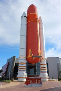 External Tank and SRBs outside the Atlantis exhibit. Credit: Lloyd Campbell