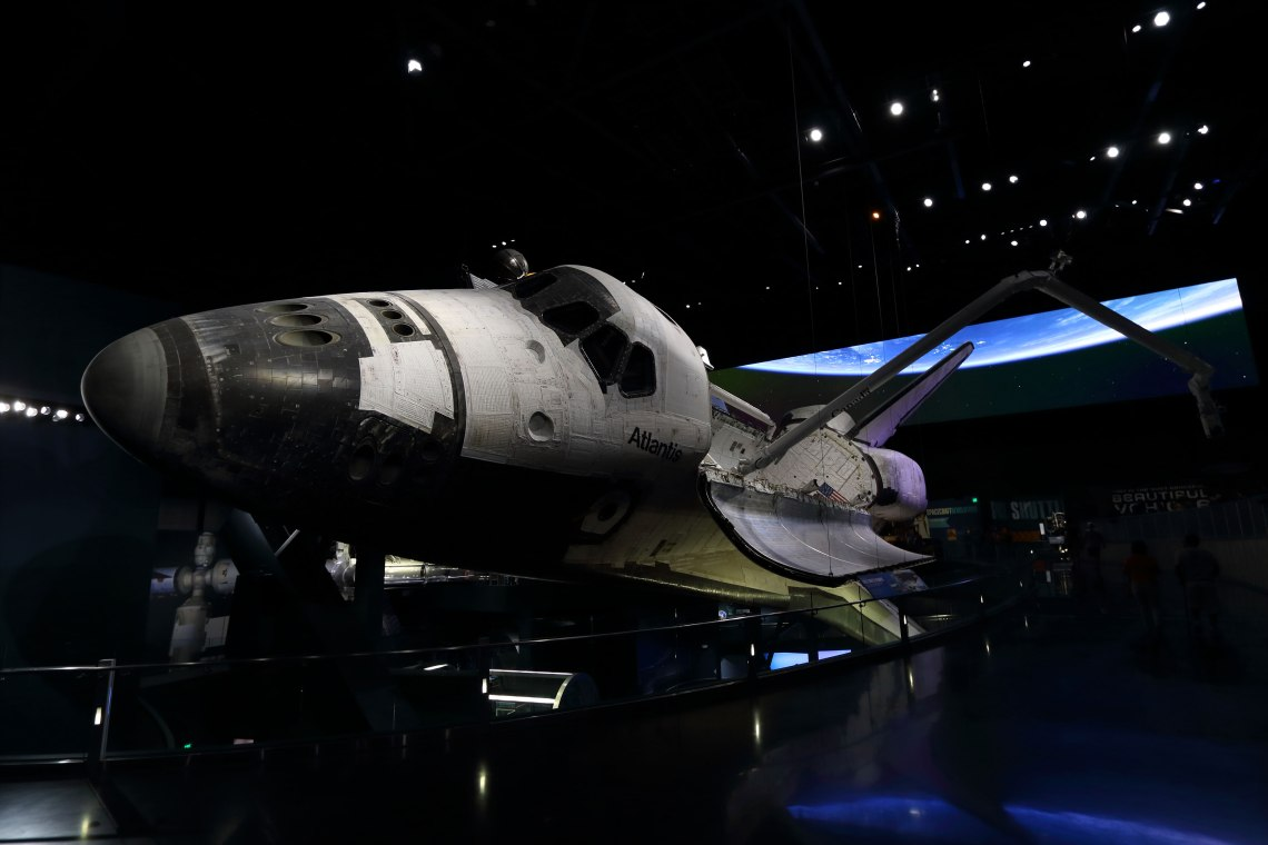 Space Shuttle Atlantis on display at the Kennedy Space Center Visitor Complex. Credit: Lloyd Campbell