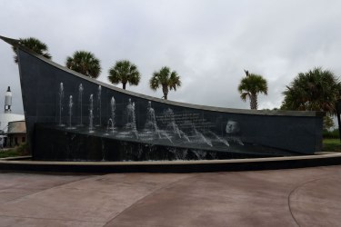 The sloping Kennedy fountain just outside KSCVC. Credit: Lloyd Campbell