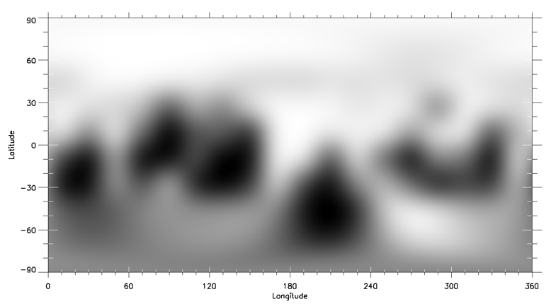 Figure 4 (a): An example of the best pre-flyby maps of Pluto, made from images from the Hubble Space Telescope in 2002 and 2003, showing contrasts in albedo. The target hemisphere was that centred on the equator and a longitude of 180°, the location of the bright feature named Sputnik Planum after encounter. Credit: NASA/JHUAPL/SwRI/Marc Buie