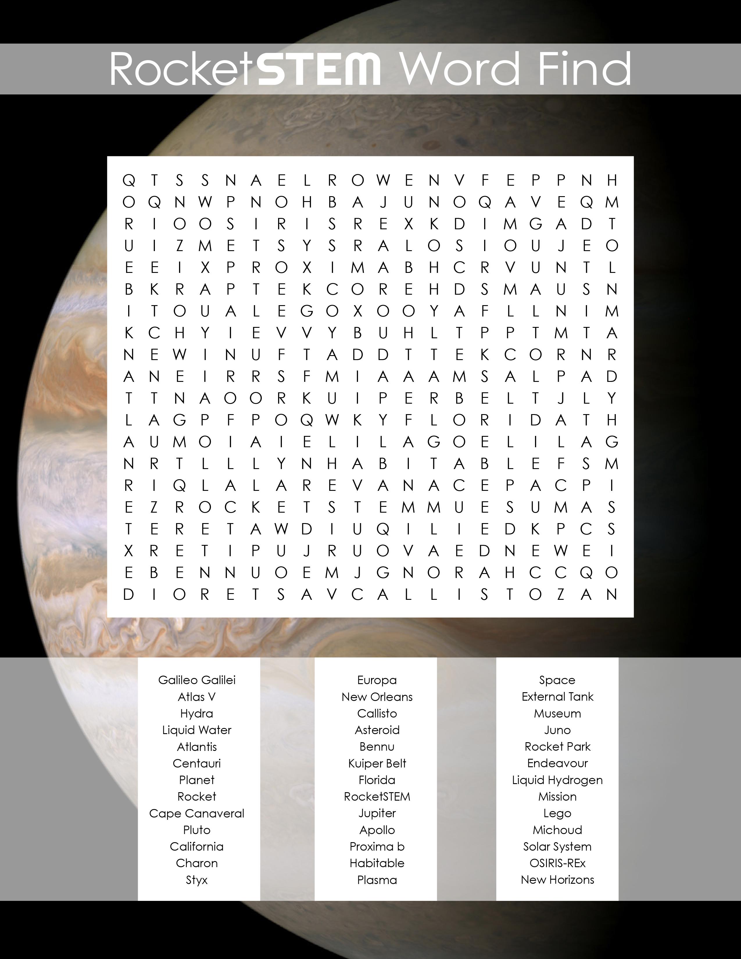 Word Find • September 2016 - RocketSTEM