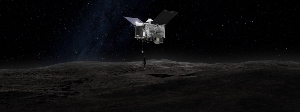 Artist's concept shows the OSIRIS-REx spacecraft contacting the asteroid Bennu with the Touch-And-Go Sample Arm Mechanism. Credit: NASA's Goddard Space Flight Center