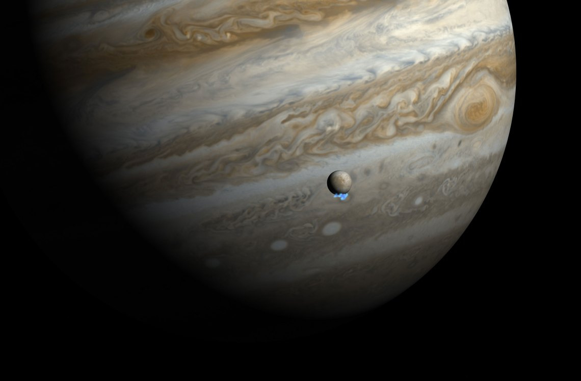 Artist impression of water vapor plumes on Jupiter's moon Europa. Credit: NASA/ESA/M. Kornmesser