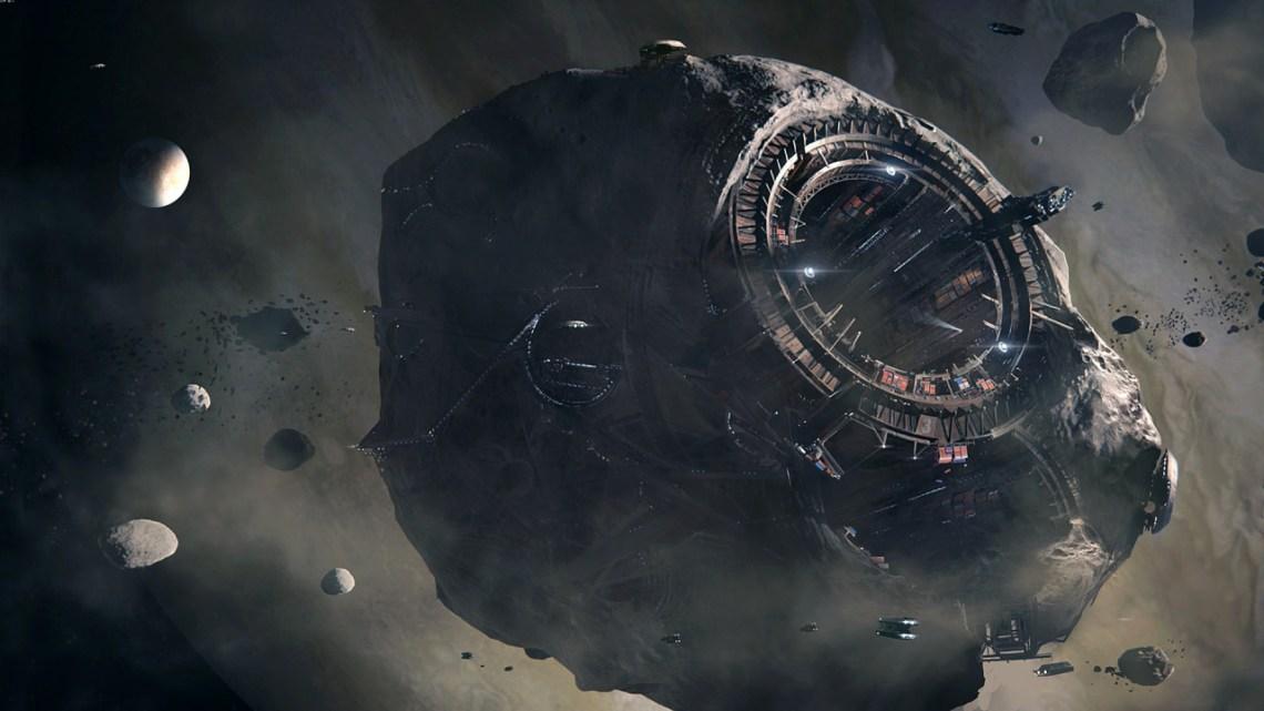 futuristic asteroid mining operation