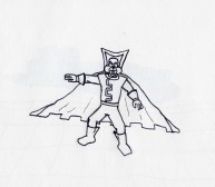 A squirrel in a cape. Possibly 'Booster Beaver', a rip off of Rocket Raccoon.