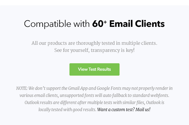 See email client test results