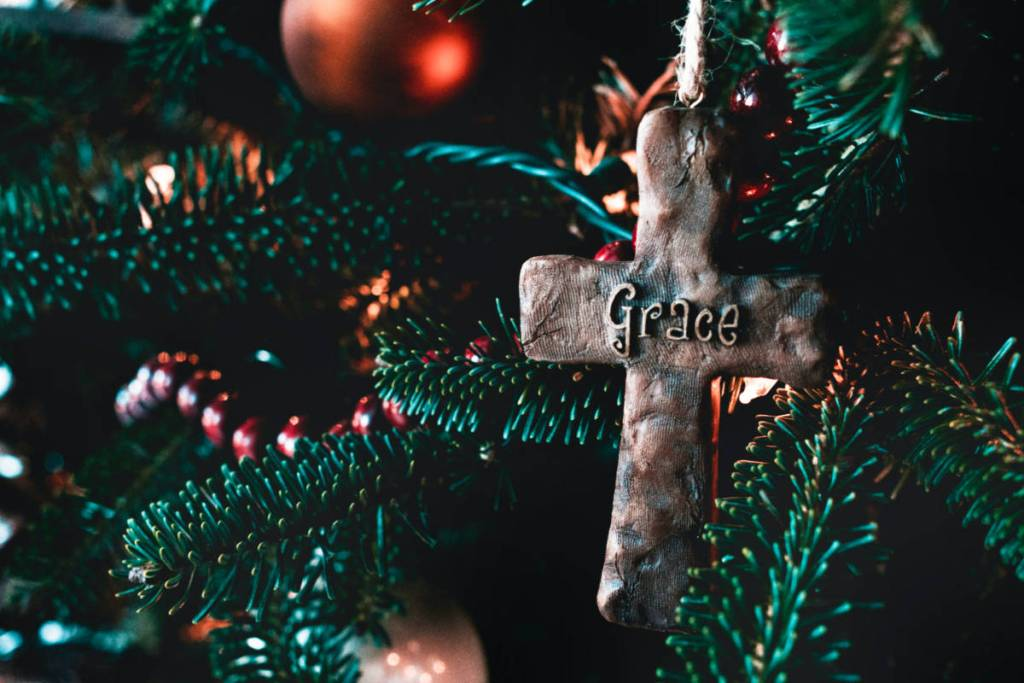 "Christmas tree ornament that says ""grace"""