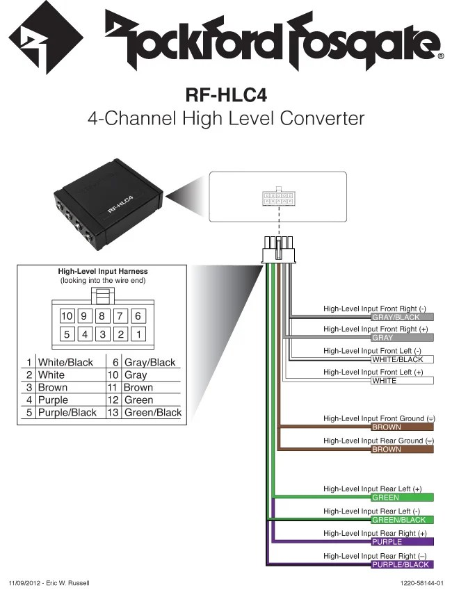 rfhlc4 4channel high level converter  owners manual