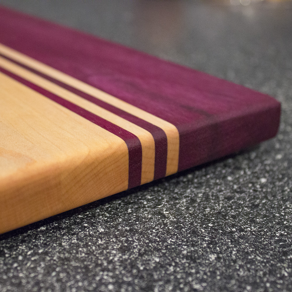 Purpleheart And Maple Striped Cutting Board Rockford