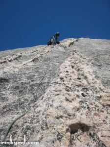 Me leading Snake Dike on Half Dome, Yosemite National Park