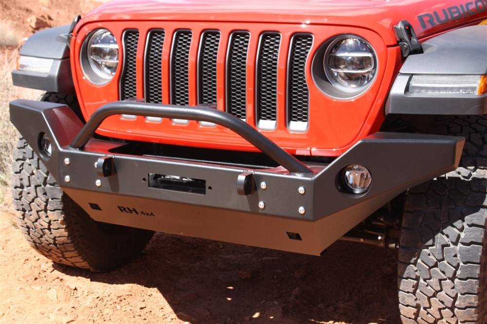 medium resolution of rock hard 4x4 8482 patriot series full width front bumper w lowered winch plate for jeep