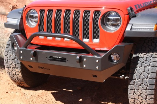 small resolution of rock hard 4x4 8482 patriot series mid width front bumper w lowered winch plate for jeep