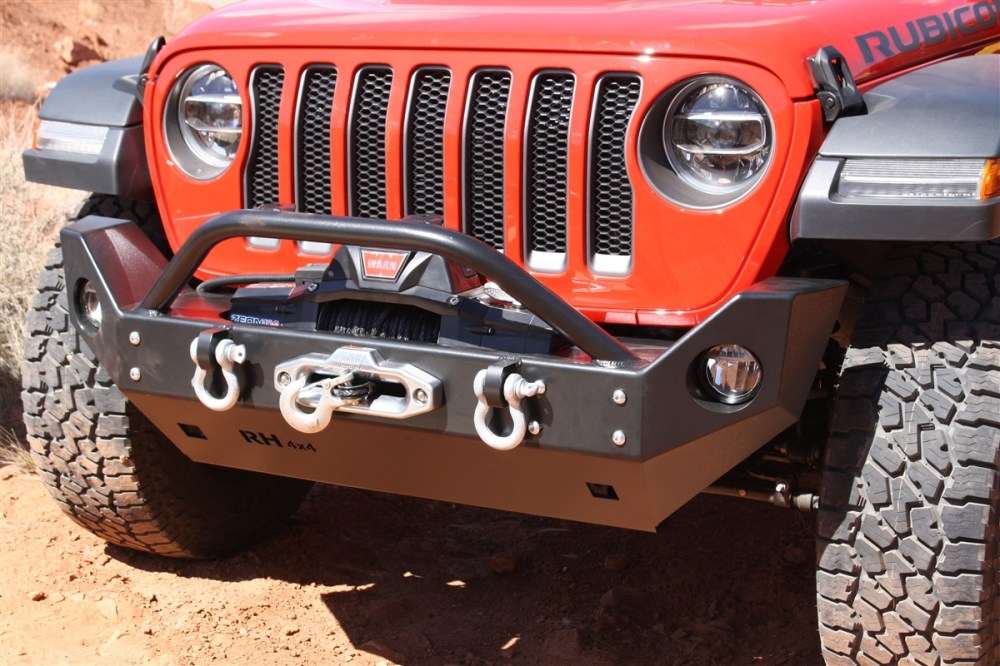 medium resolution of rock hard 4x4 8482 aluminum patriot series mid width front bumper w lowered winch plate for jeep wrangler jl and gladiator jt 2018 current rh 90248