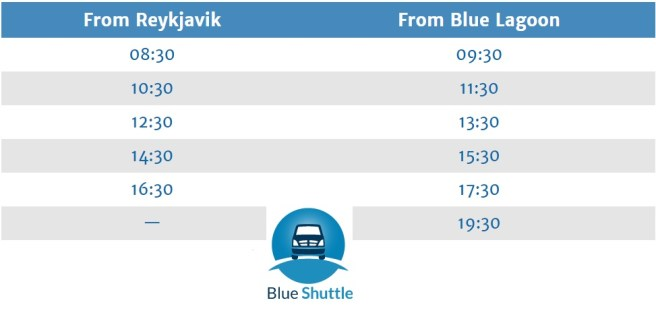 blue lagoon transfer schedule blue shuttle Iceland