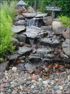 Make a mini waterfall in the garden 9
