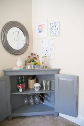 Corner bar cabinet for coffe and wine places 42