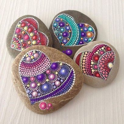 Creative diy painting rock for valentine decoration ideas 27