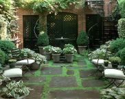 Small courtyard garden with seating area design and layout 111
